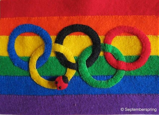 Olympische regenboogvlag vol hoop